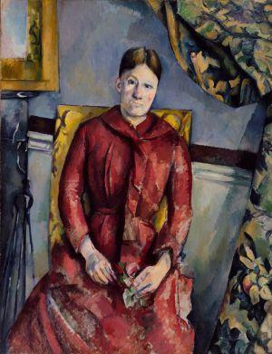Madame Cézanne, con un vestido rojo
